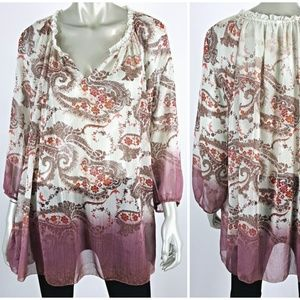 Plus Size 2X Ivory Ombre Paisley Boho Peasant Top